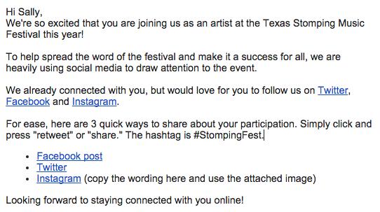 social media music festival tips
