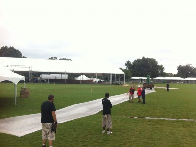 Aluminum rolls being laid out on festival grounds