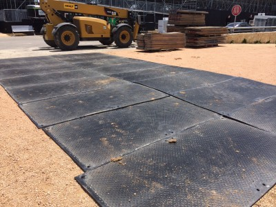 Reusable plastic 4 x 8 ground protection mats